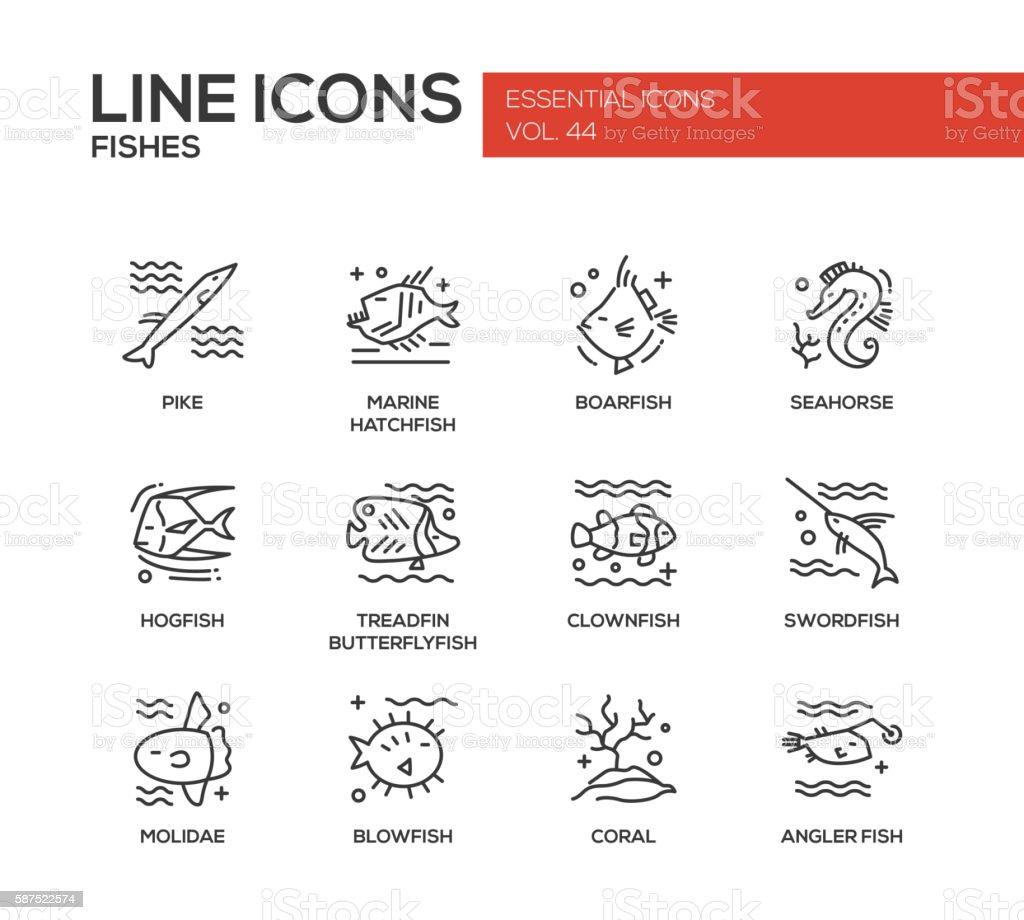Fishes - line design icons set vector art illustration