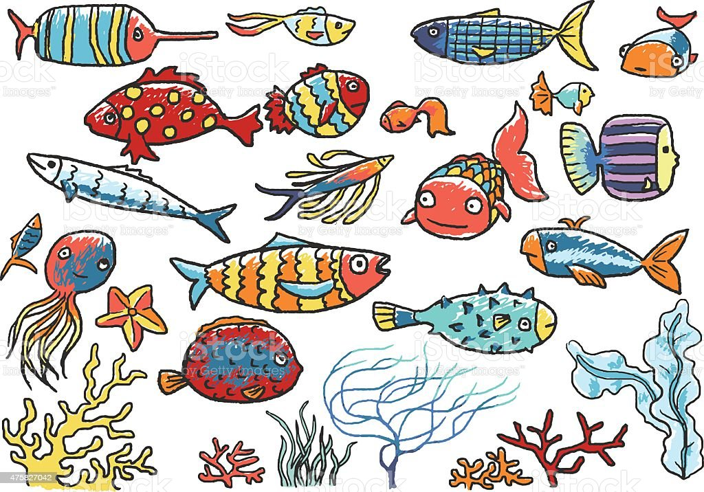 Fishes, sea plants collection vector art illustration