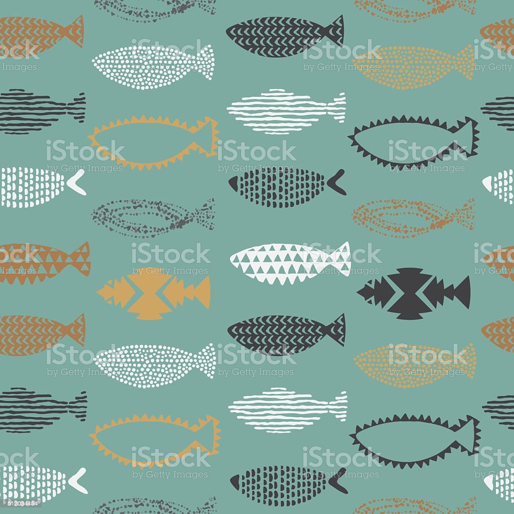 Fishes seamless pattern. vector art illustration