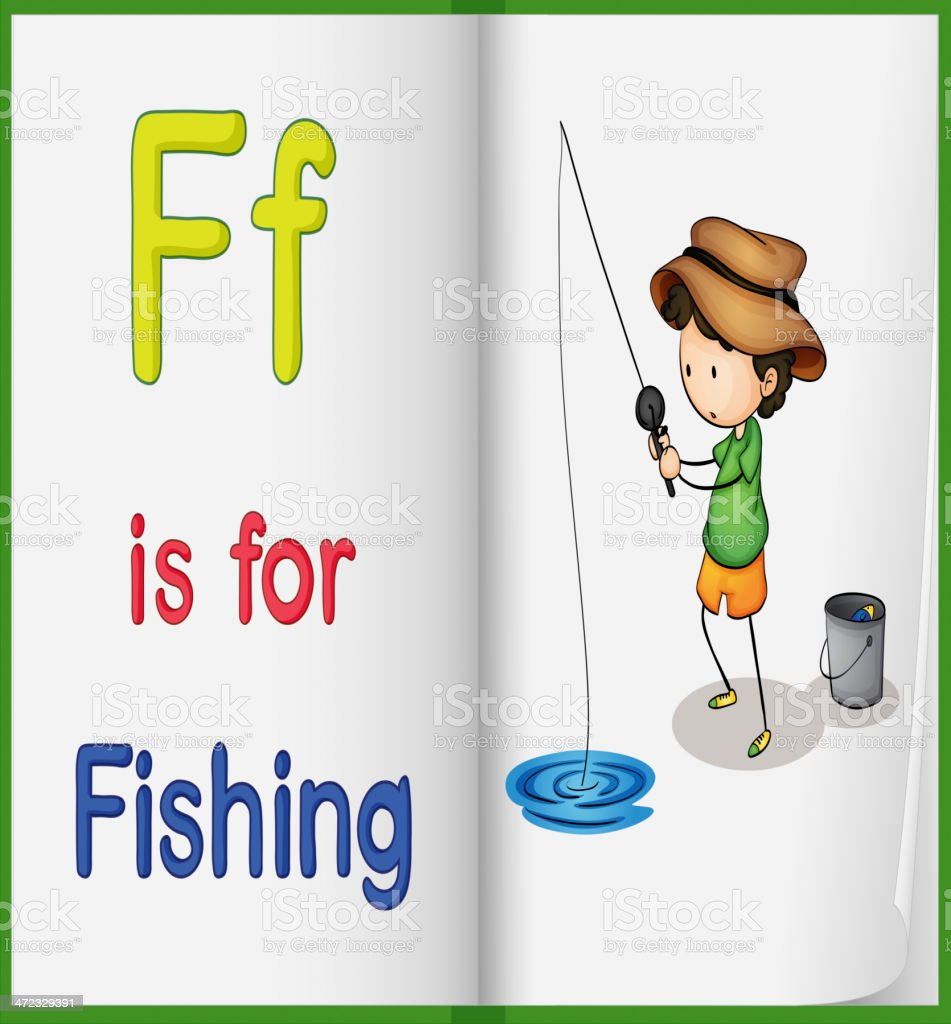 Fishing and a book royalty-free stock vector art