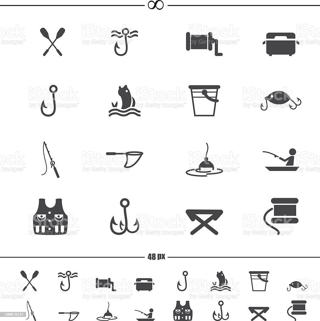 fishing and equipment for fishing icons.vector eps10 vector art illustration