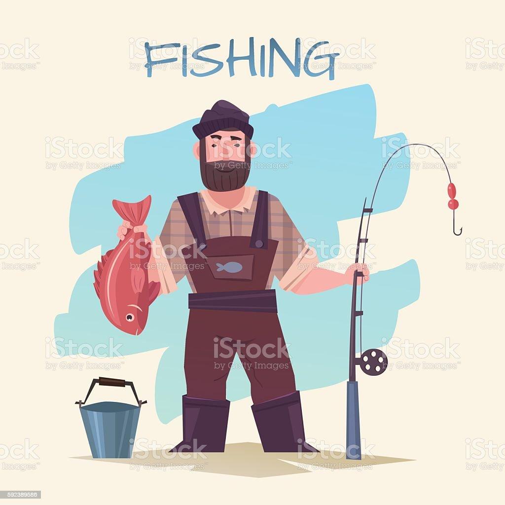 Fishing and fisherman vector art illustration