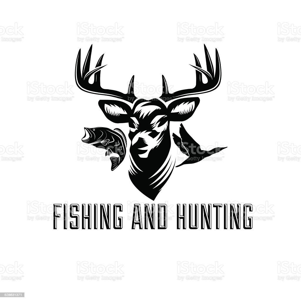 fishing and hunting illustration vector art illustration