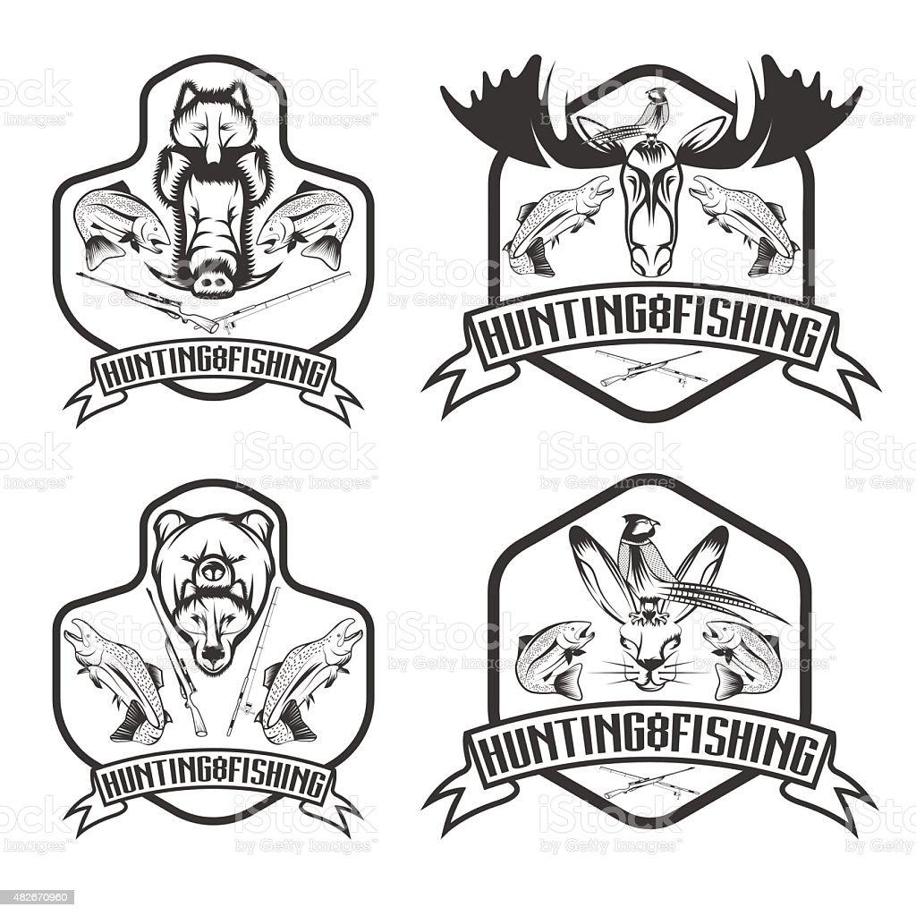fishing and hunting vintage labels set vector art illustration