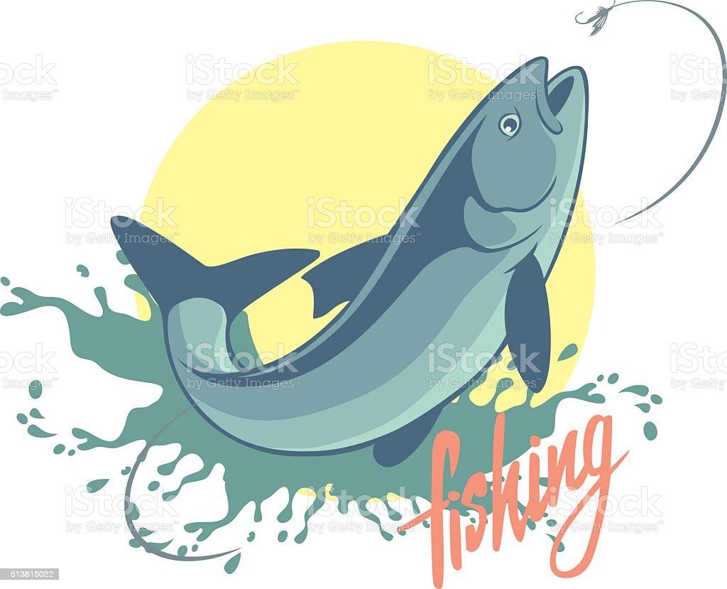 fishing asp vector art illustration