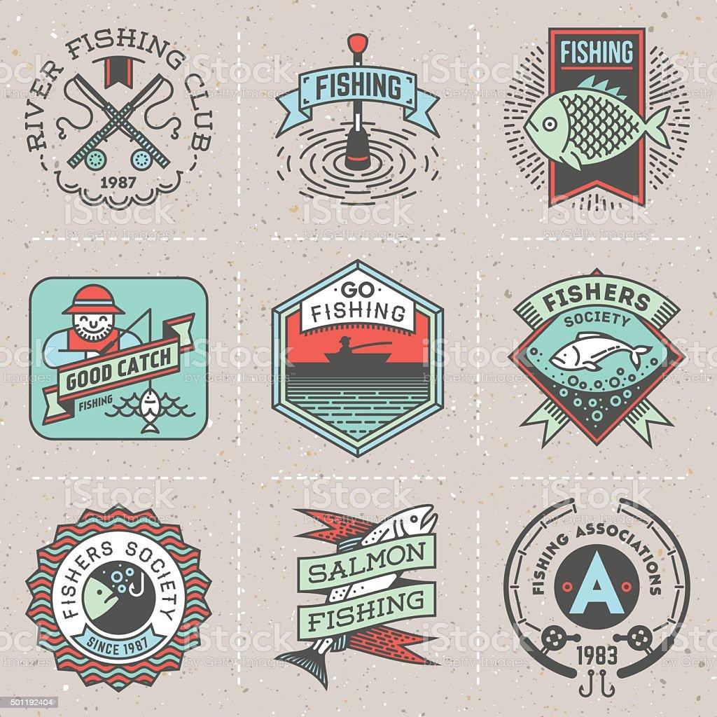 Fishing Assorted Retro Design Insignias Color Logotypes Set. vector art illustration