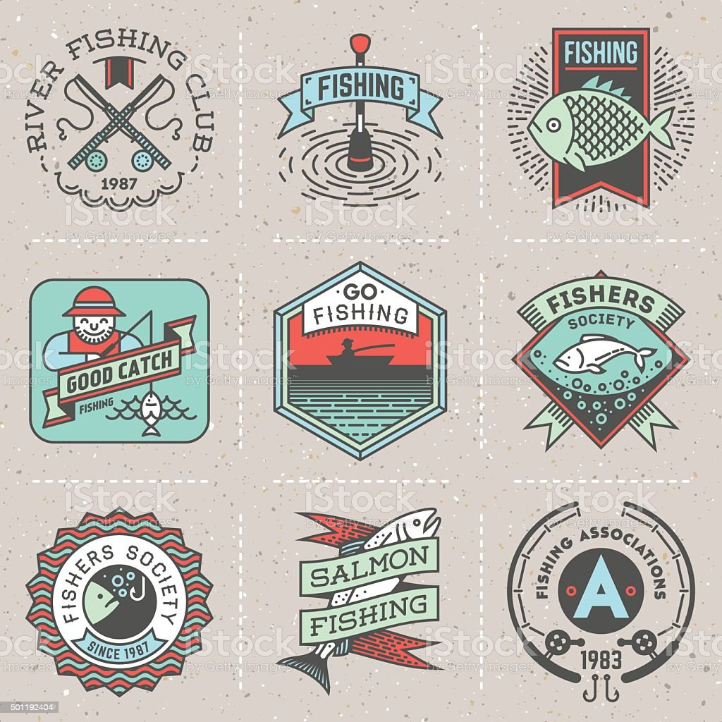 Fishing Assorted Retro Design Insignias Color Logotypes Set. vector art illustration