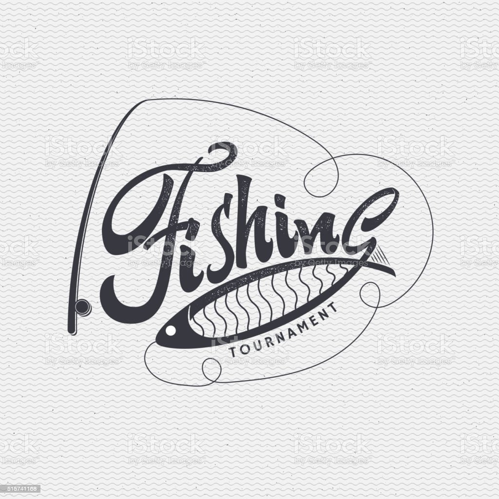 Fishing badges sign handmade differences, made using calligraphy and lettering vector art illustration
