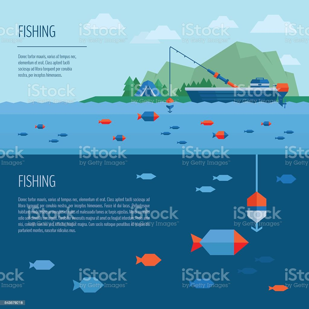 Fishing banner. Fishing concept. Fishing on the boat, flat style. vector art illustration