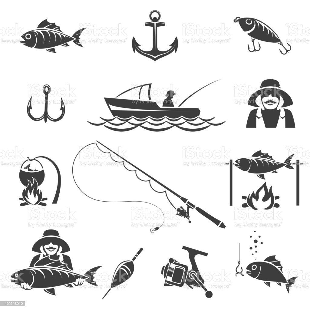 Fishing black icons vector set vector art illustration
