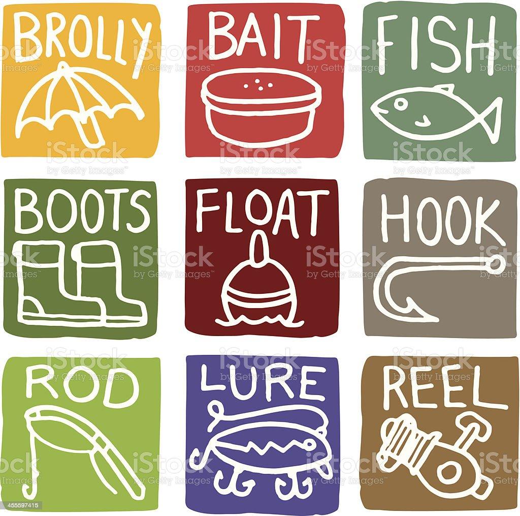 Fishing block icon set with type vector art illustration
