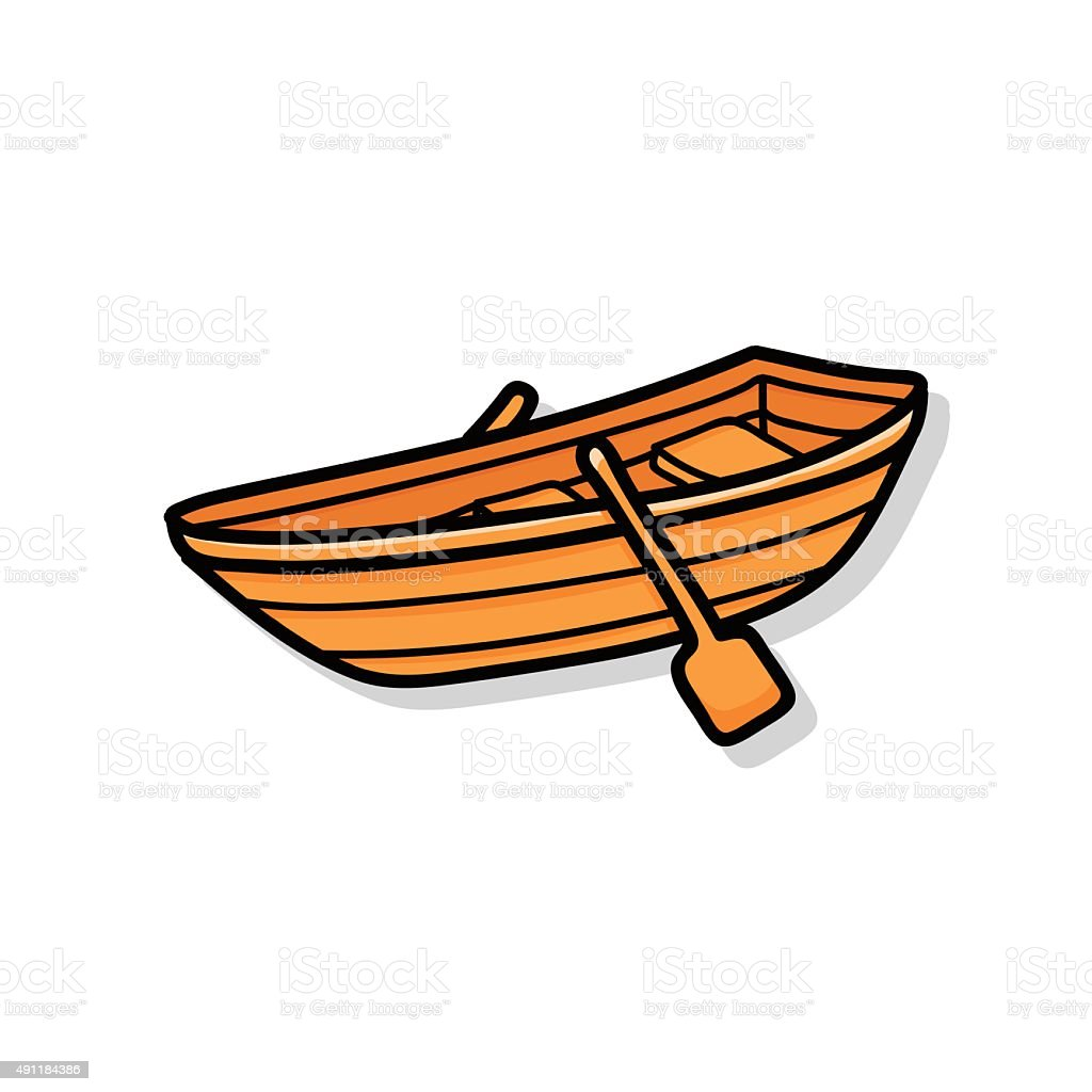 fishing boat doodle vector art illustration