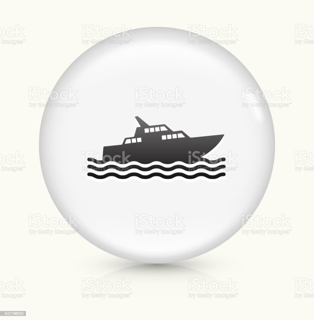 Fishing Boat icon on white round vector button vector art illustration