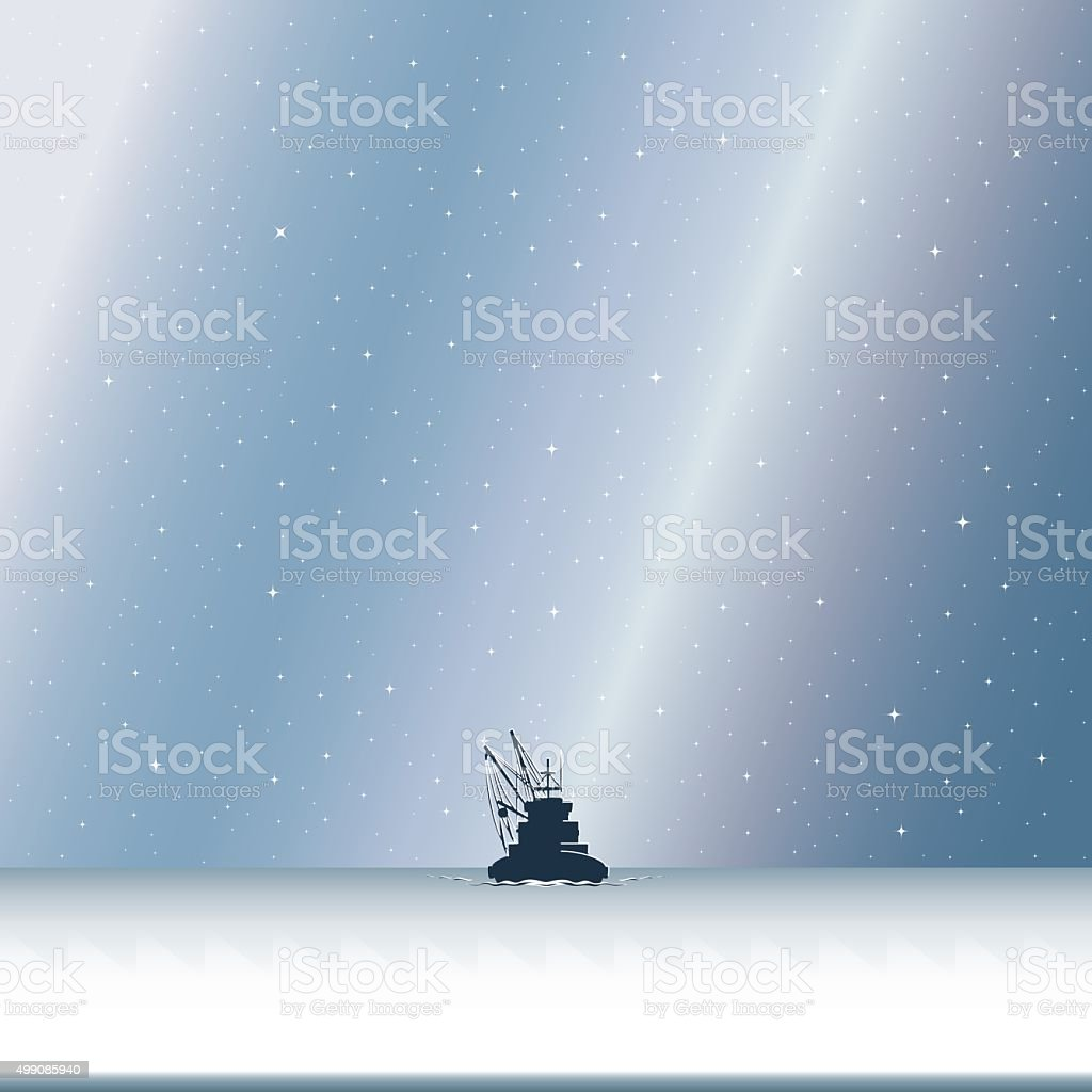 Fishing Boat in Starry Night vector art illustration