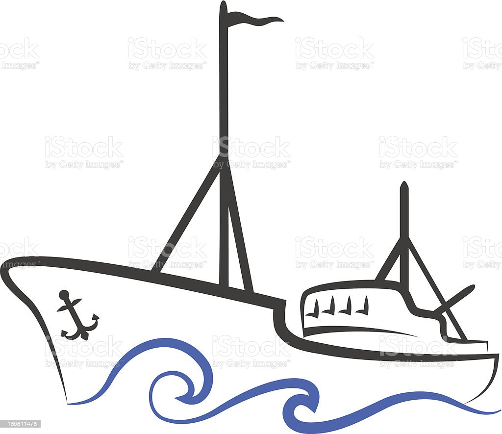 fishing boat silhouette royalty-free stock vector art