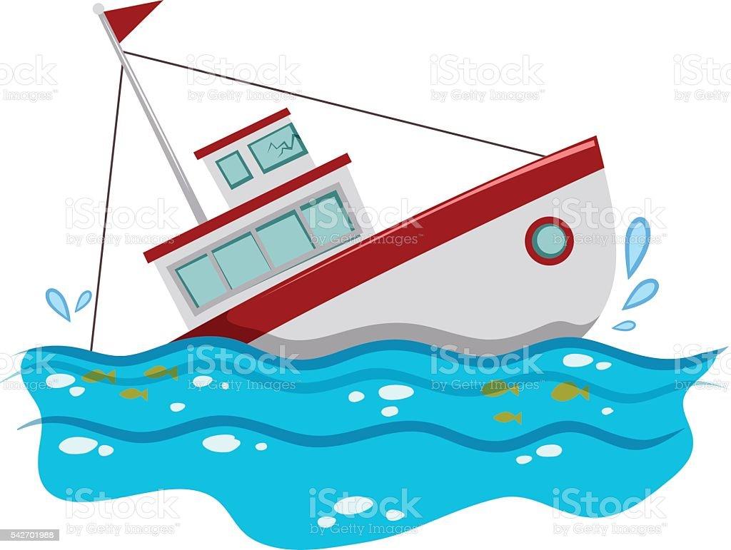 Fishing boat sinking in the ocean vector art illustration