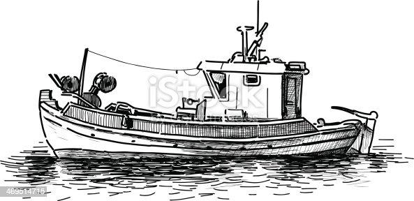 рисунок моря с рыбаками