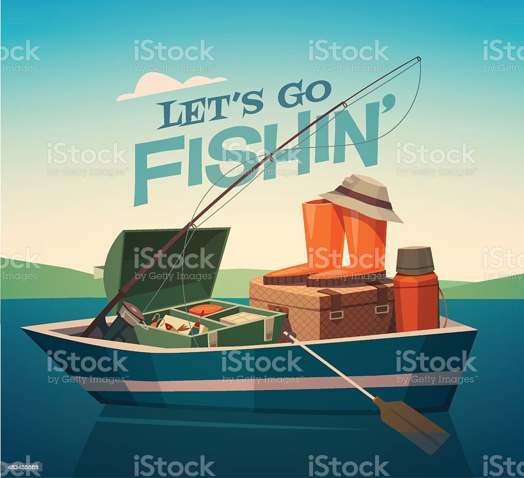 Fishing boat. vector art illustration