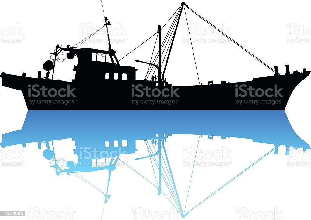 Fishing Boat vector art illustration