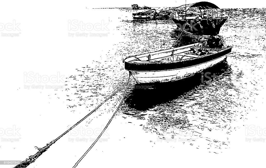 Fishing Boats At The Mercado de Mariscos fish market vector art illustration