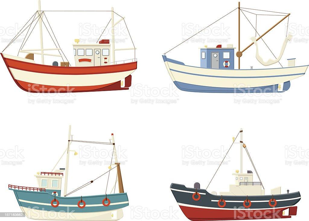 Fishing Boats vector art illustration