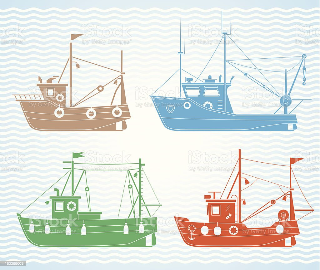 Fishing boats vector art illustration