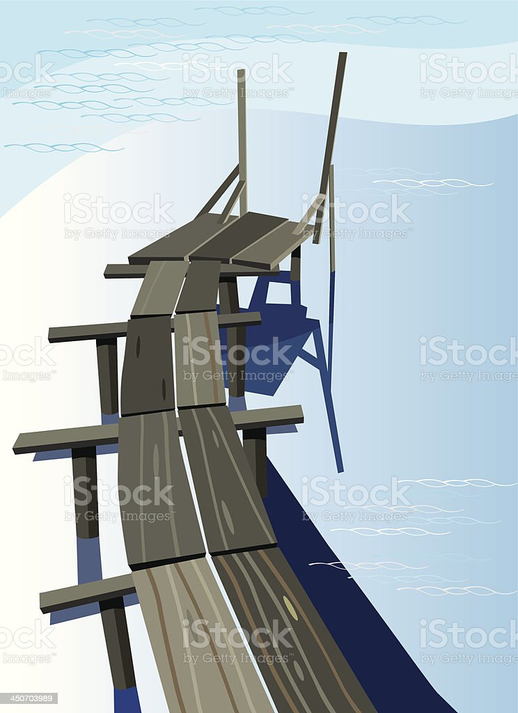fishing bridge royalty-free stock vector art