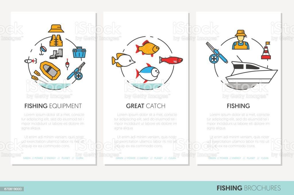 Fishing Business Brochure Template Linear vector art illustration