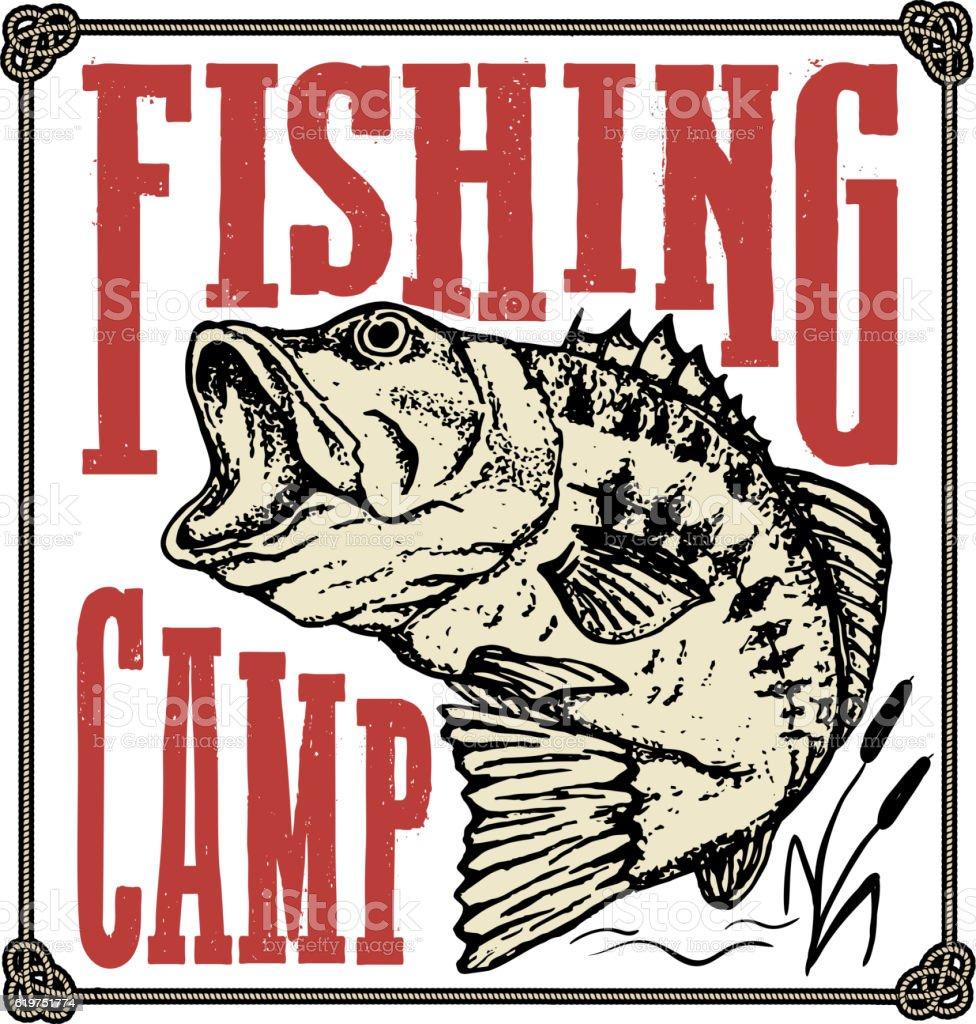 Fishing camp. Hand drawn bass fish illustration. Design elements vector art illustration