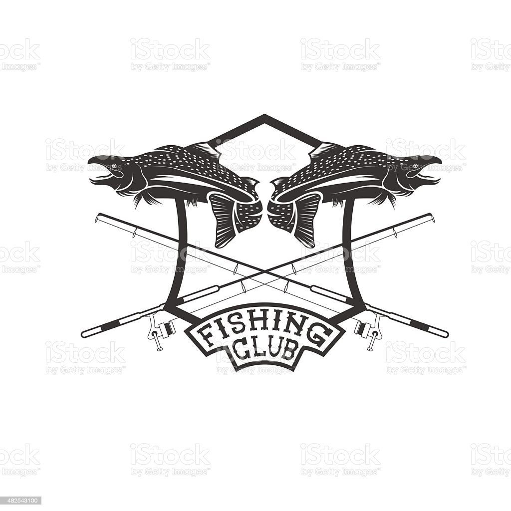 fishing club crest with salmon vector art illustration