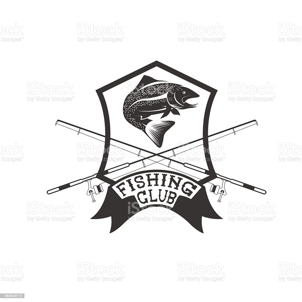 fishing club crest with trout vector art illustration