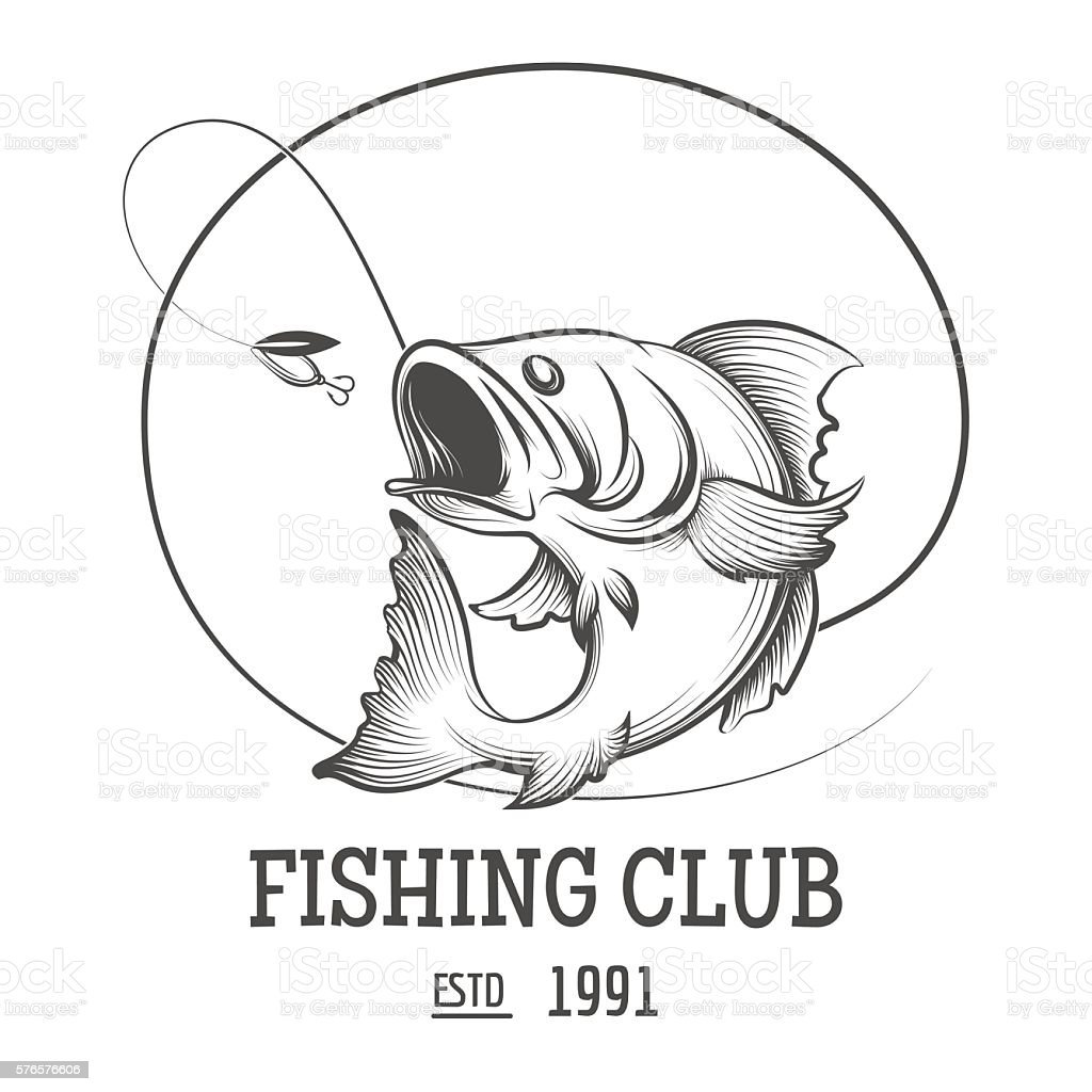Fishing club logo vector art illustration