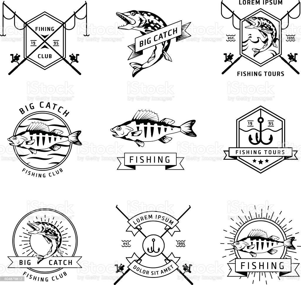 Fishing club vector labels set vector art illustration