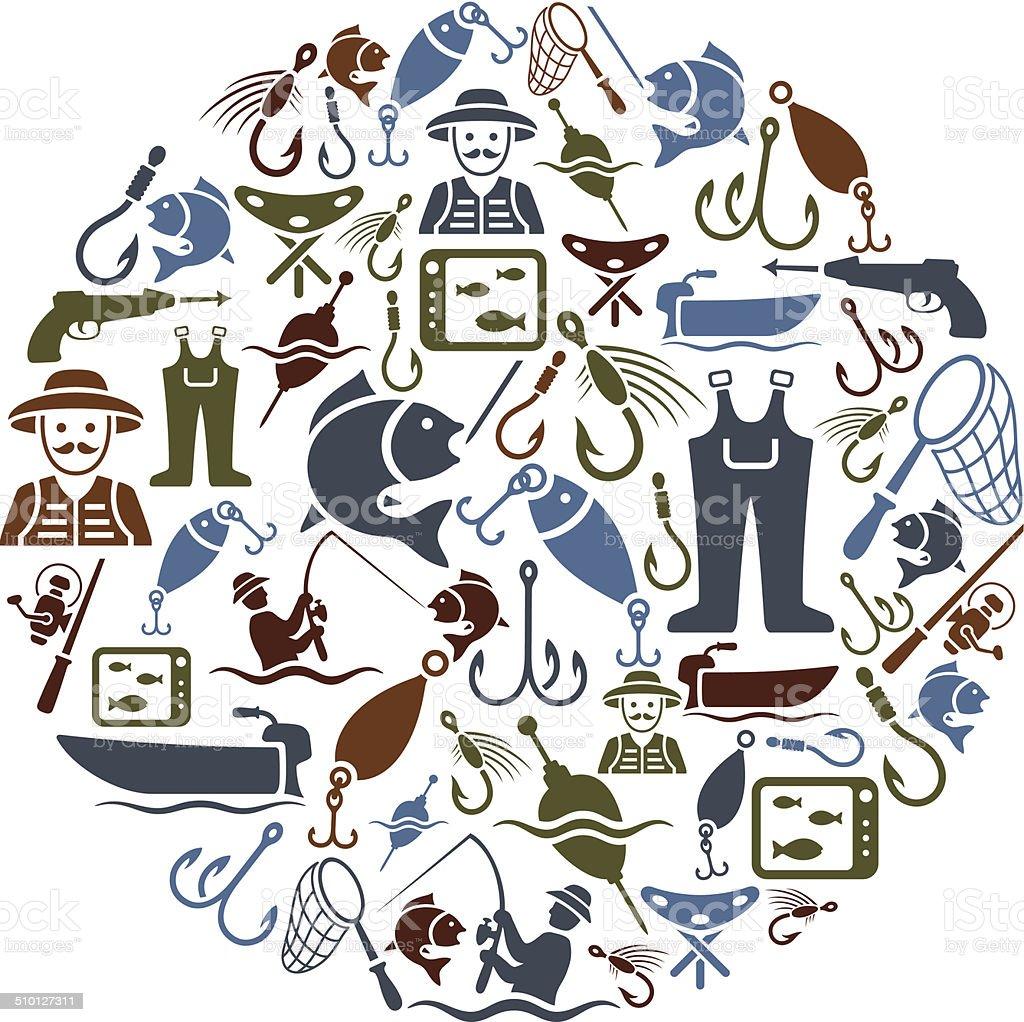 Fishing Collage vector art illustration