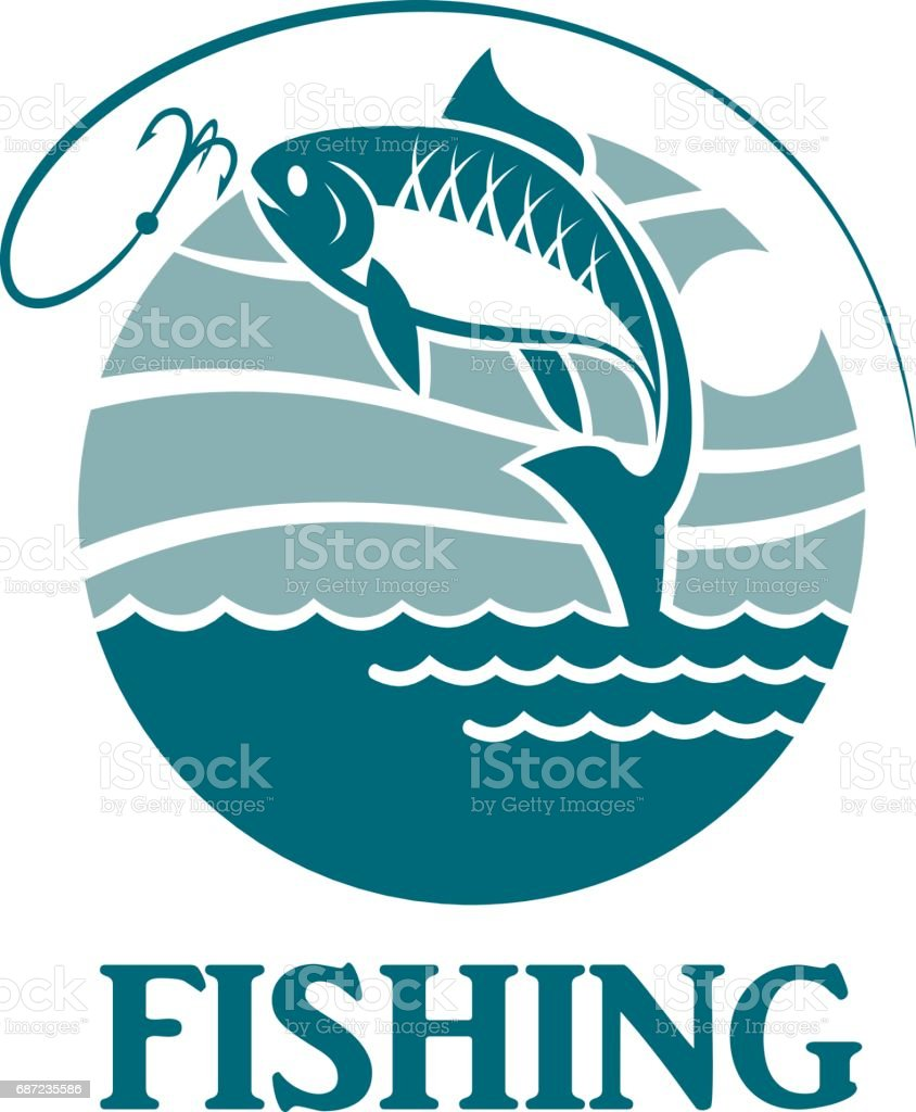 fishing emblem with waves vector art illustration