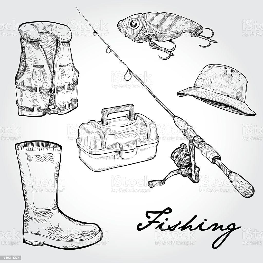 Fishing equipment, icon set. Hand drawn Vector vector art illustration