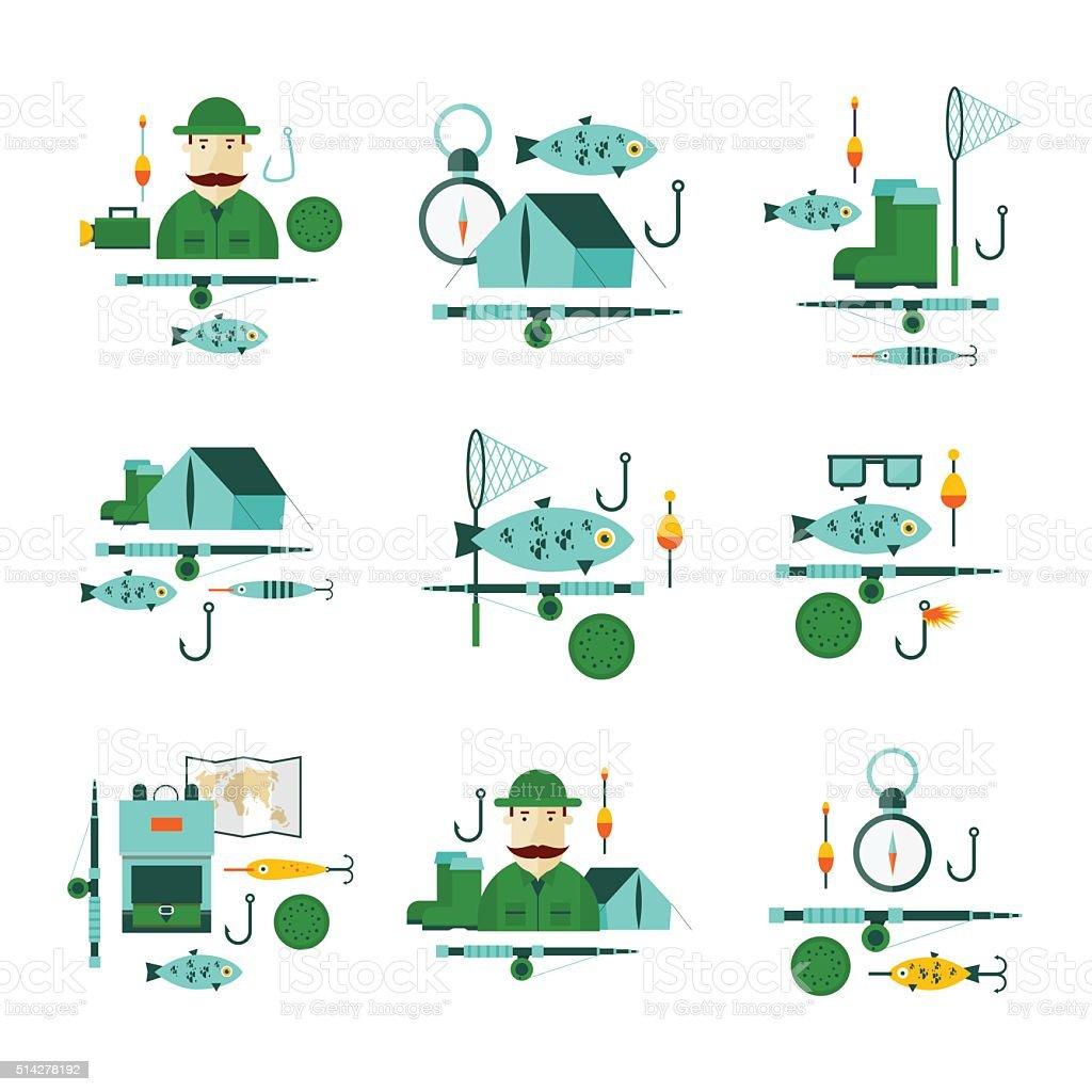 Fishing fishing hook, tackle, bait, reel, bucket, flashlight, fishing rod. vector art illustration