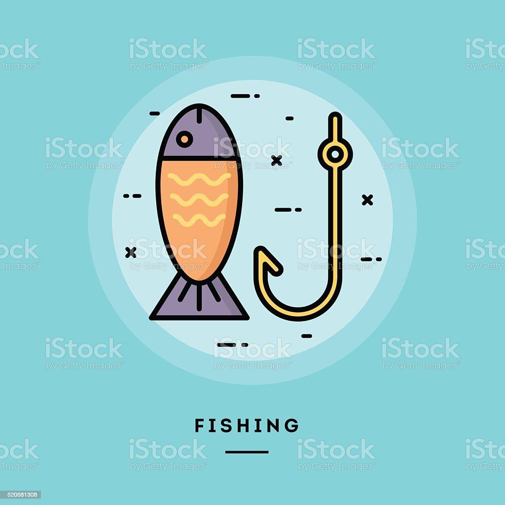 Fishing, flat design thin line banner vector art illustration