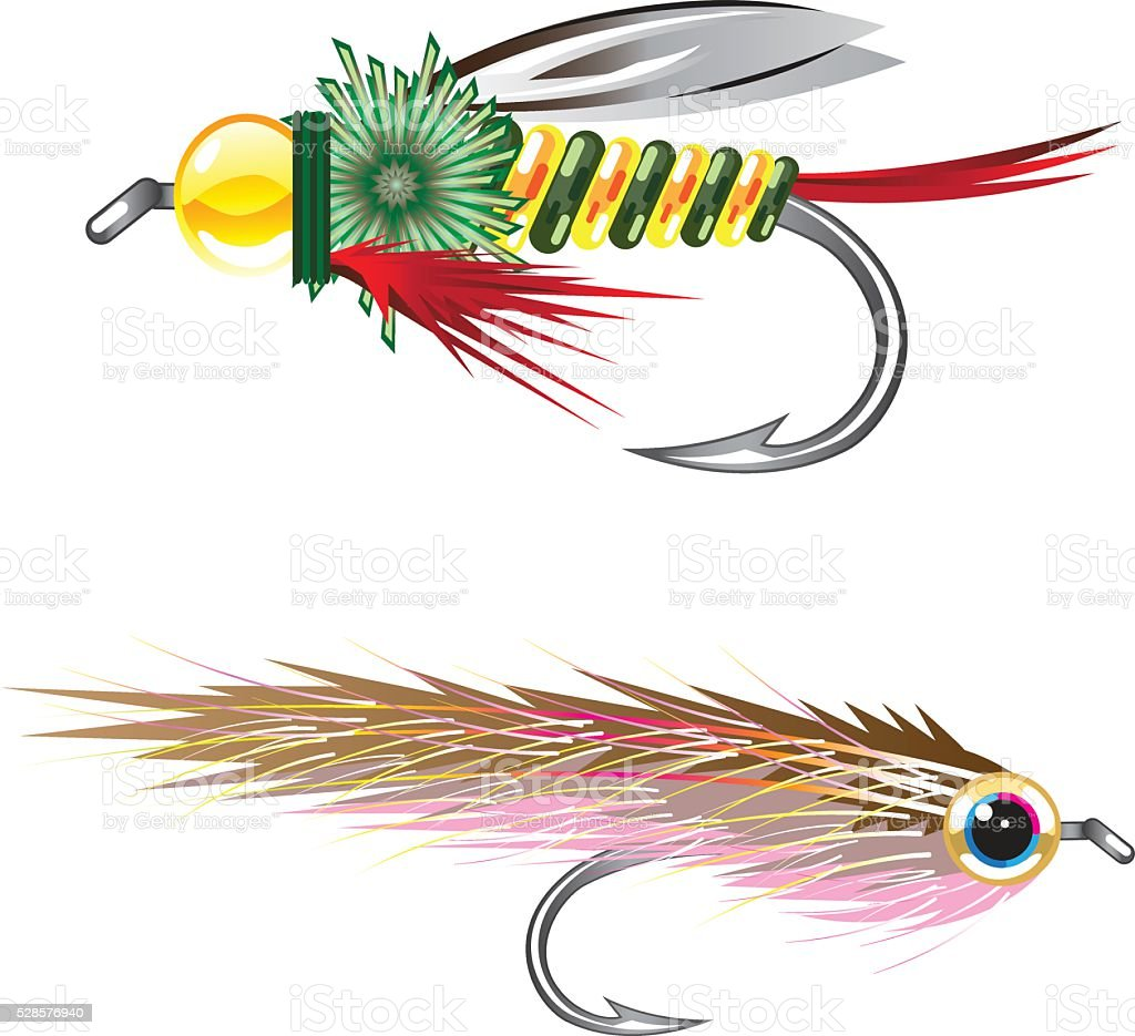 Fishing Flies lures Bug and Minnow vector art illustration