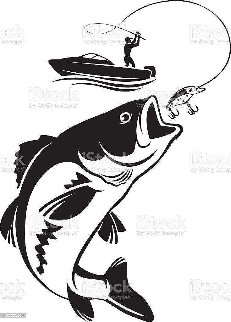 fishing for bass vector art illustration
