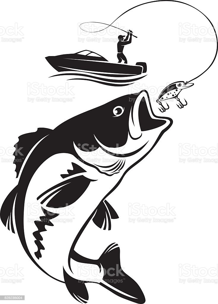 fishing for bass vector art illustration