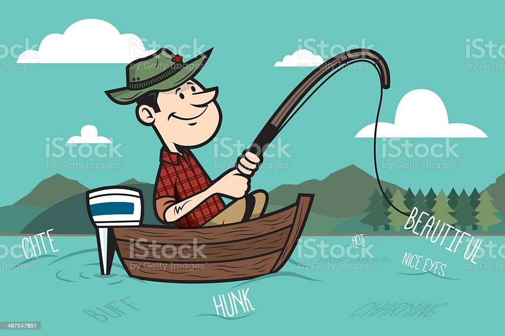 Fishing for Compliments vector art illustration