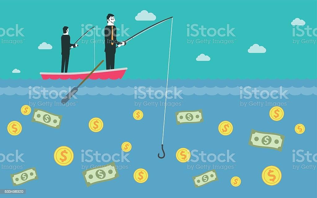 Fishing for dollars vector art illustration