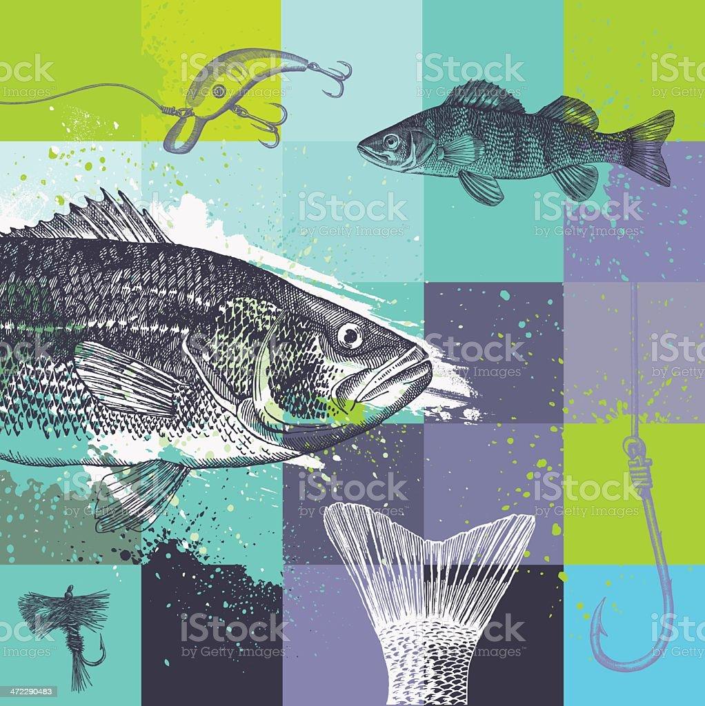 Fishing Grunge Design vector art illustration