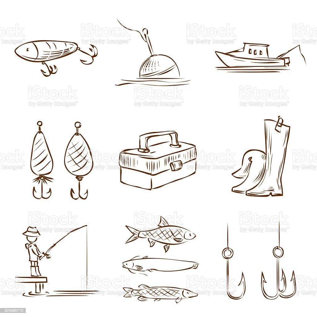 Fishing. Hand drawn vector icon set. vector art illustration