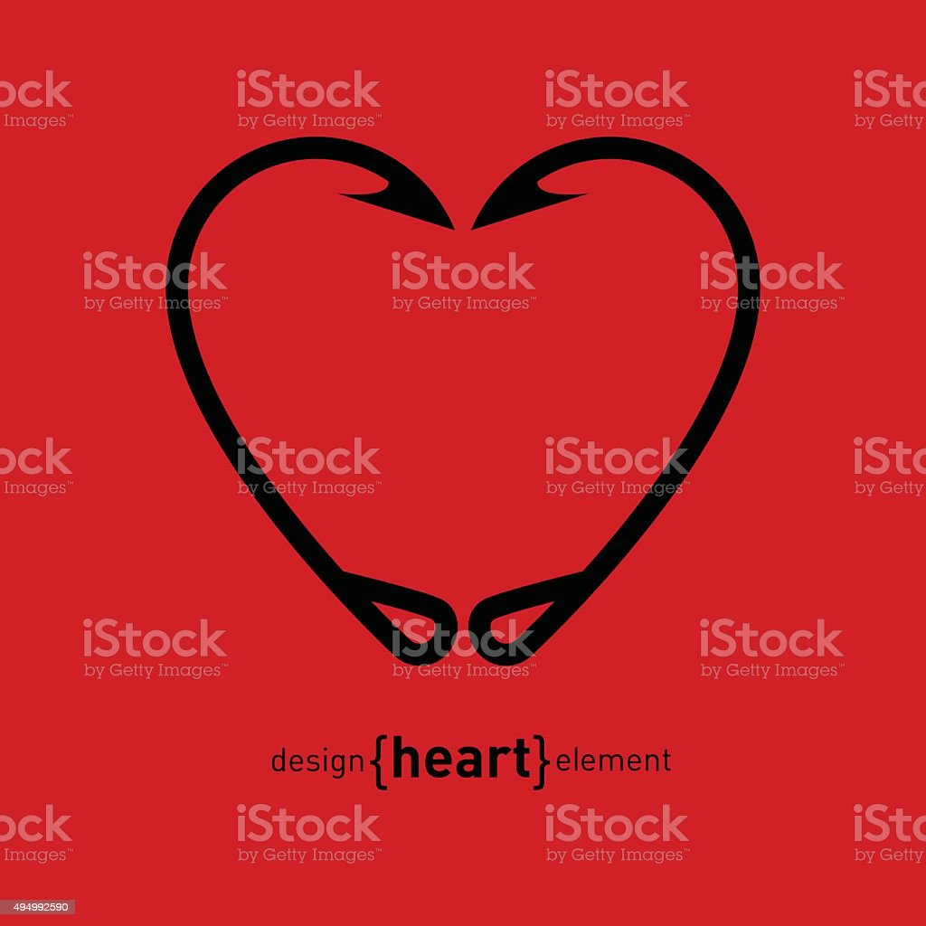 Fishing Hook heart vector illustration vector art illustration
