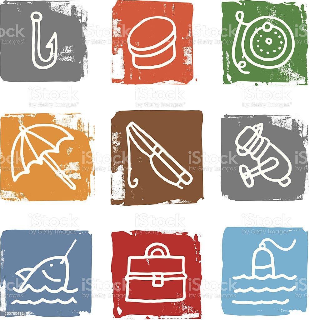 Fishing icon blocks royalty-free stock vector art