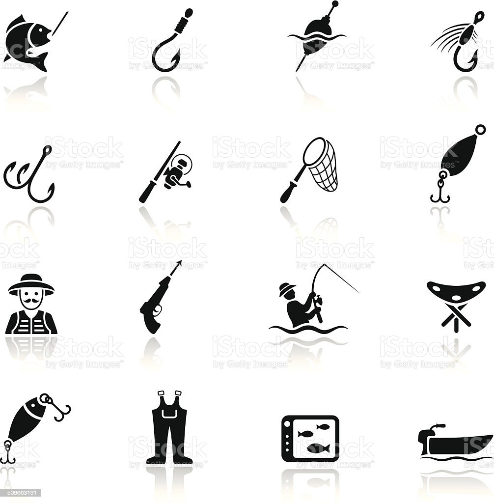 Fishing Icon Set vector art illustration