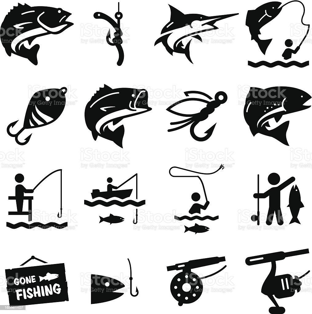 Fishing Icons - Black Series vector art illustration