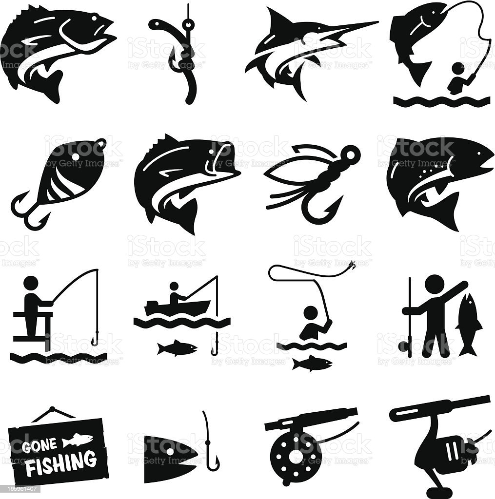 Fishing Icons - Black Series vector art illustration